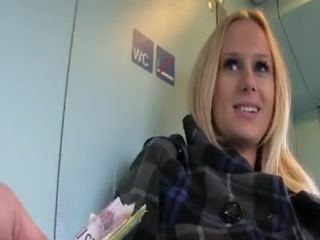 Une belle blonde, pas farouche, accepte, contre une poignée de dollars, un plan cul dans les WC d'un train.